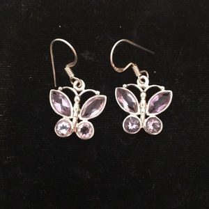 Sterling Silver Amethyst Butterfly Earrings